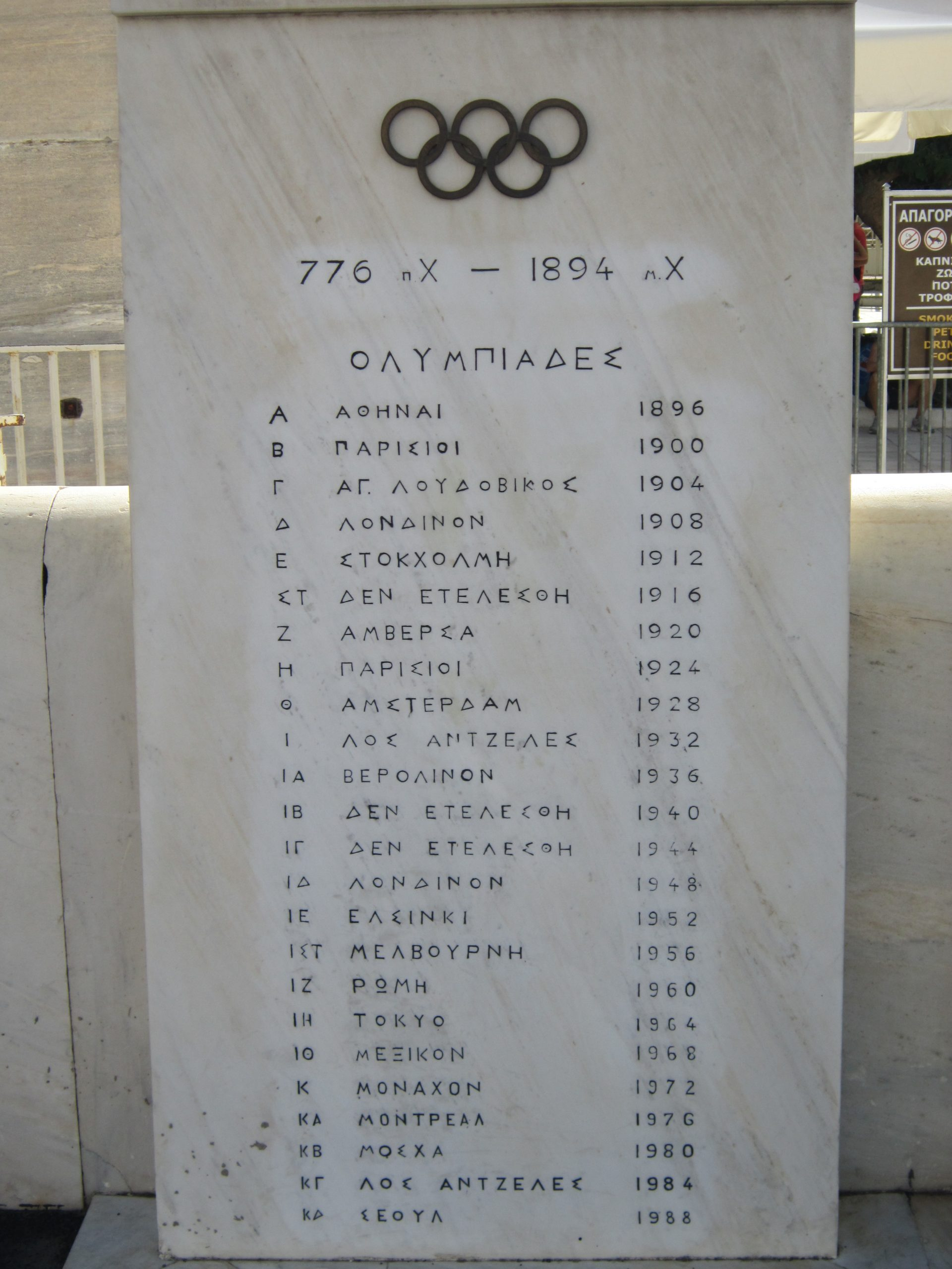 A slab showing a list of Olymp9ic games