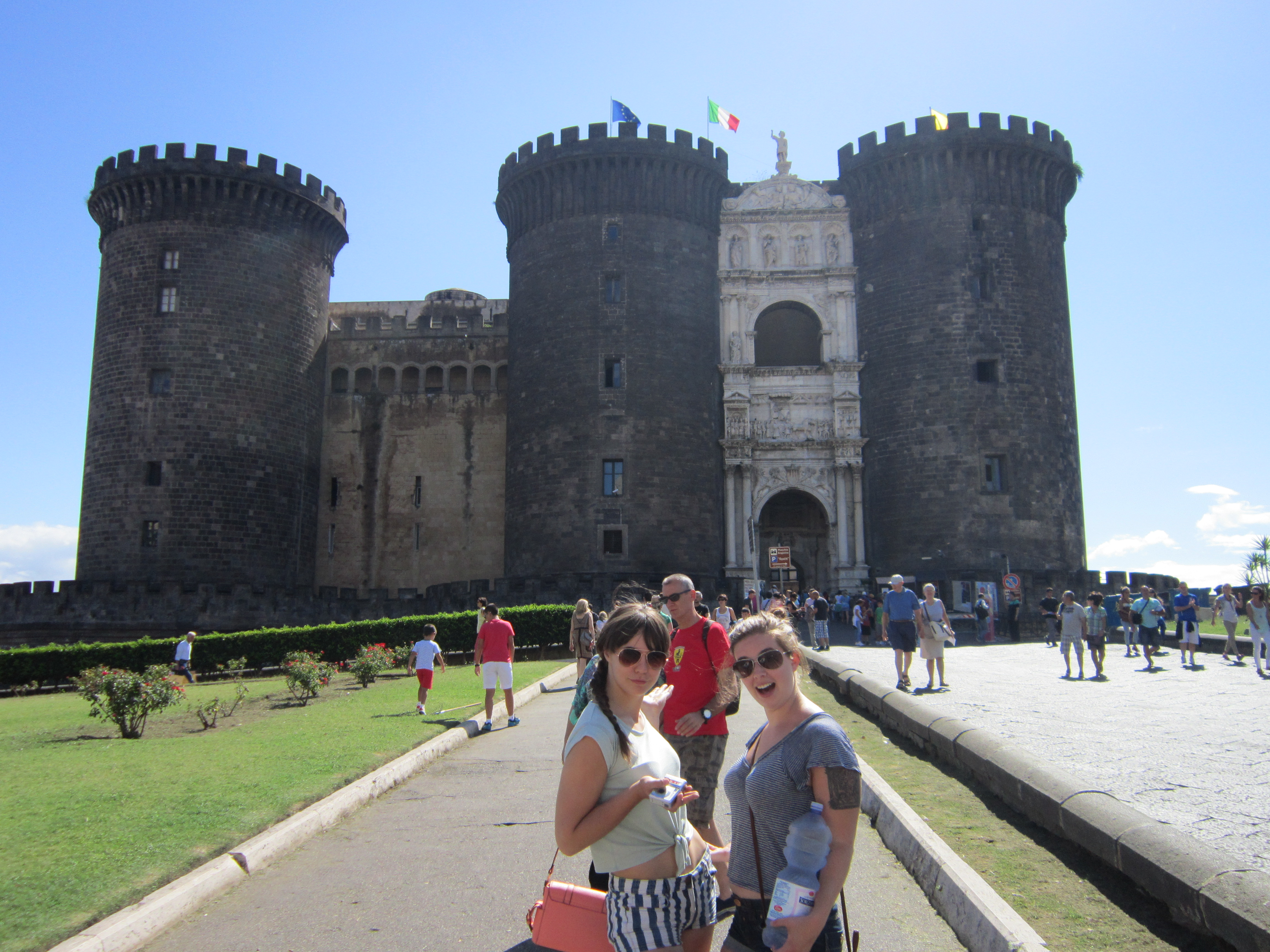 Hannah and Callie in front of Castel Nuovo
