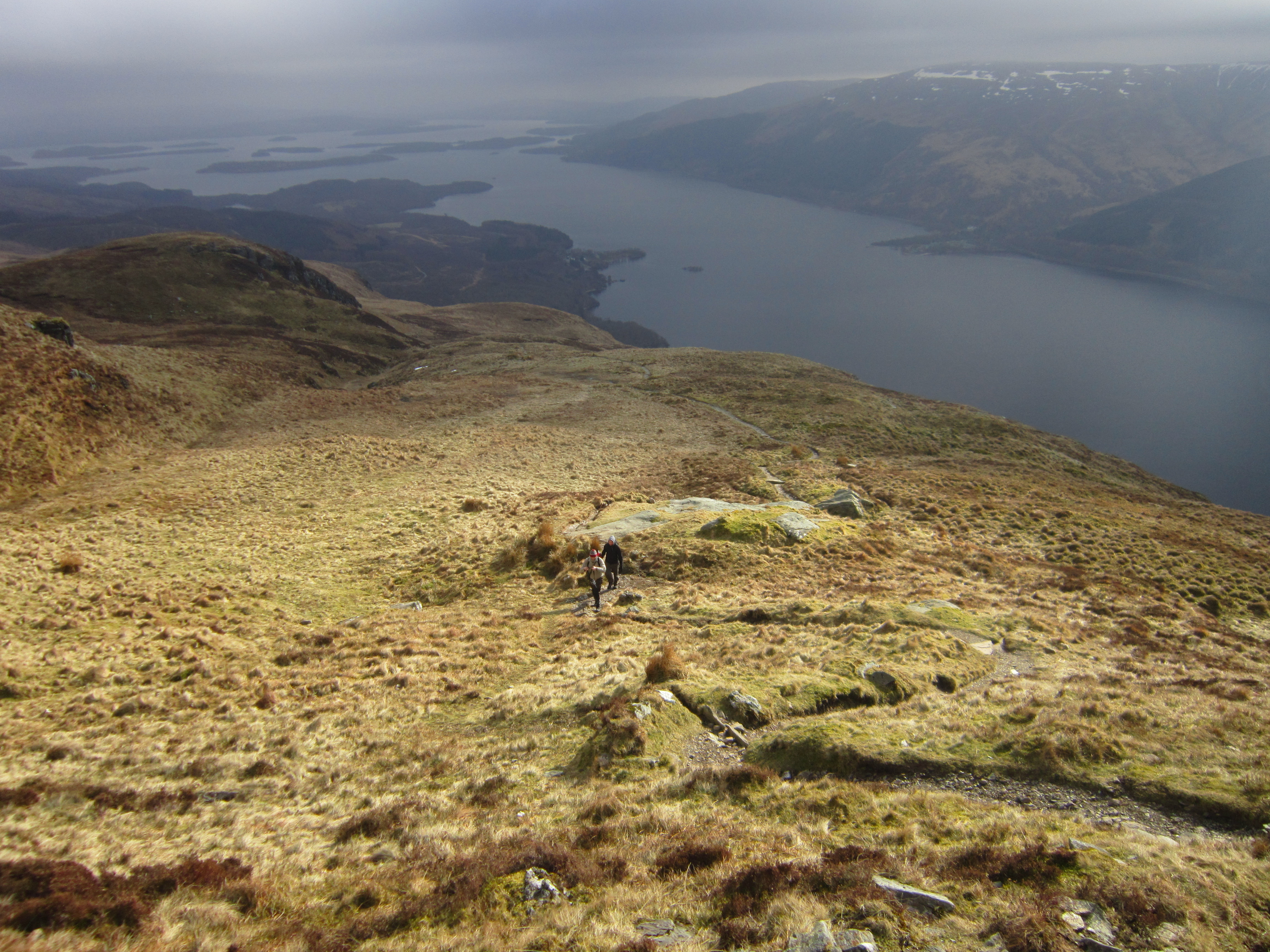Looking back at Vas and Ben as we walk up Ben Lomond.