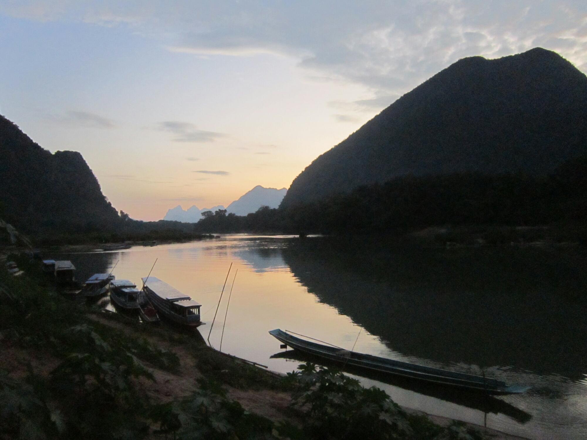 Dusk in Muang Ngoi Neua, Laos