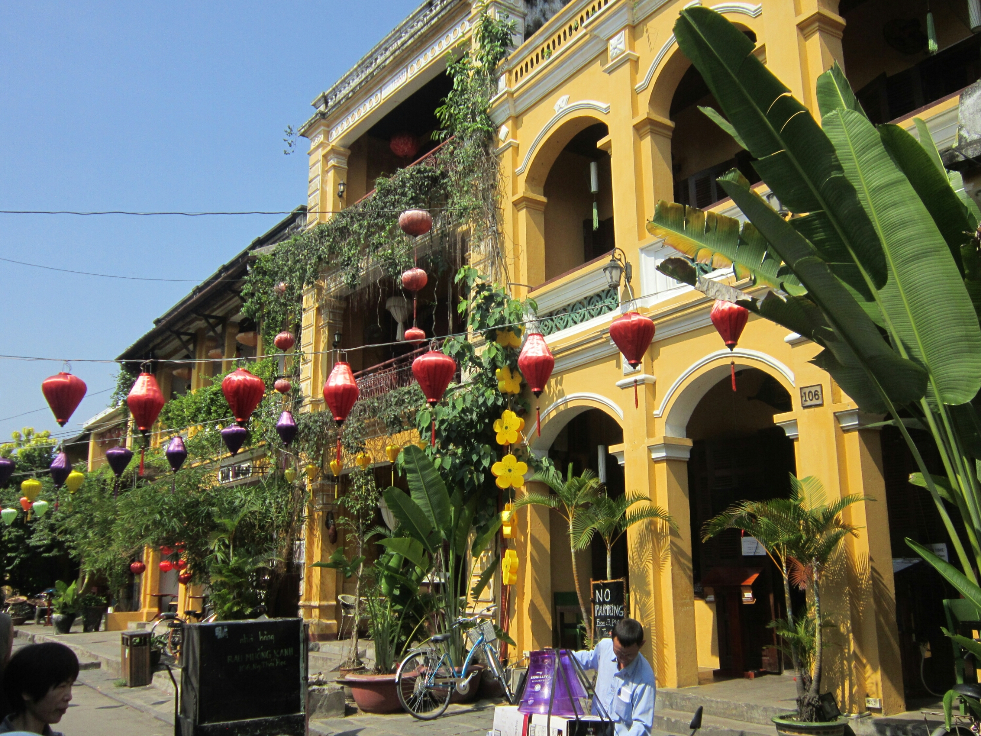 Pretty buildings with decorations in old town Hoi An, Vietnam