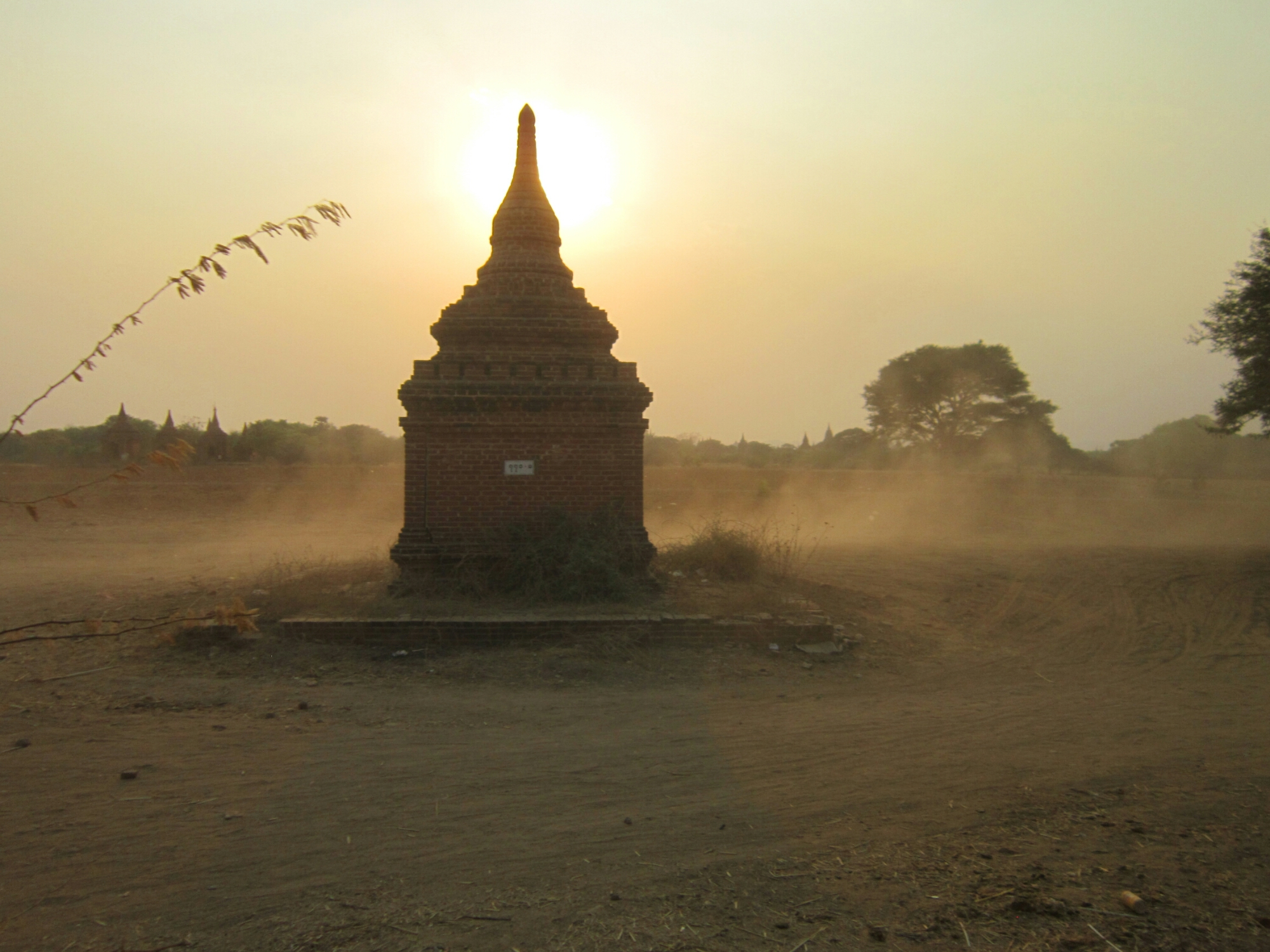Dust surrounding a temple in Bagan