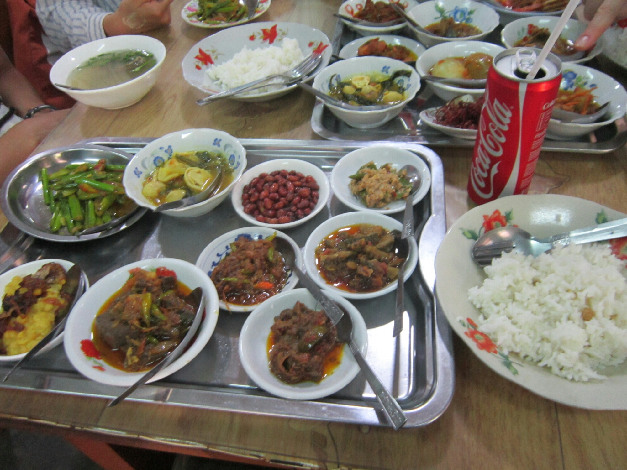 Food in a restaurant in Bagan