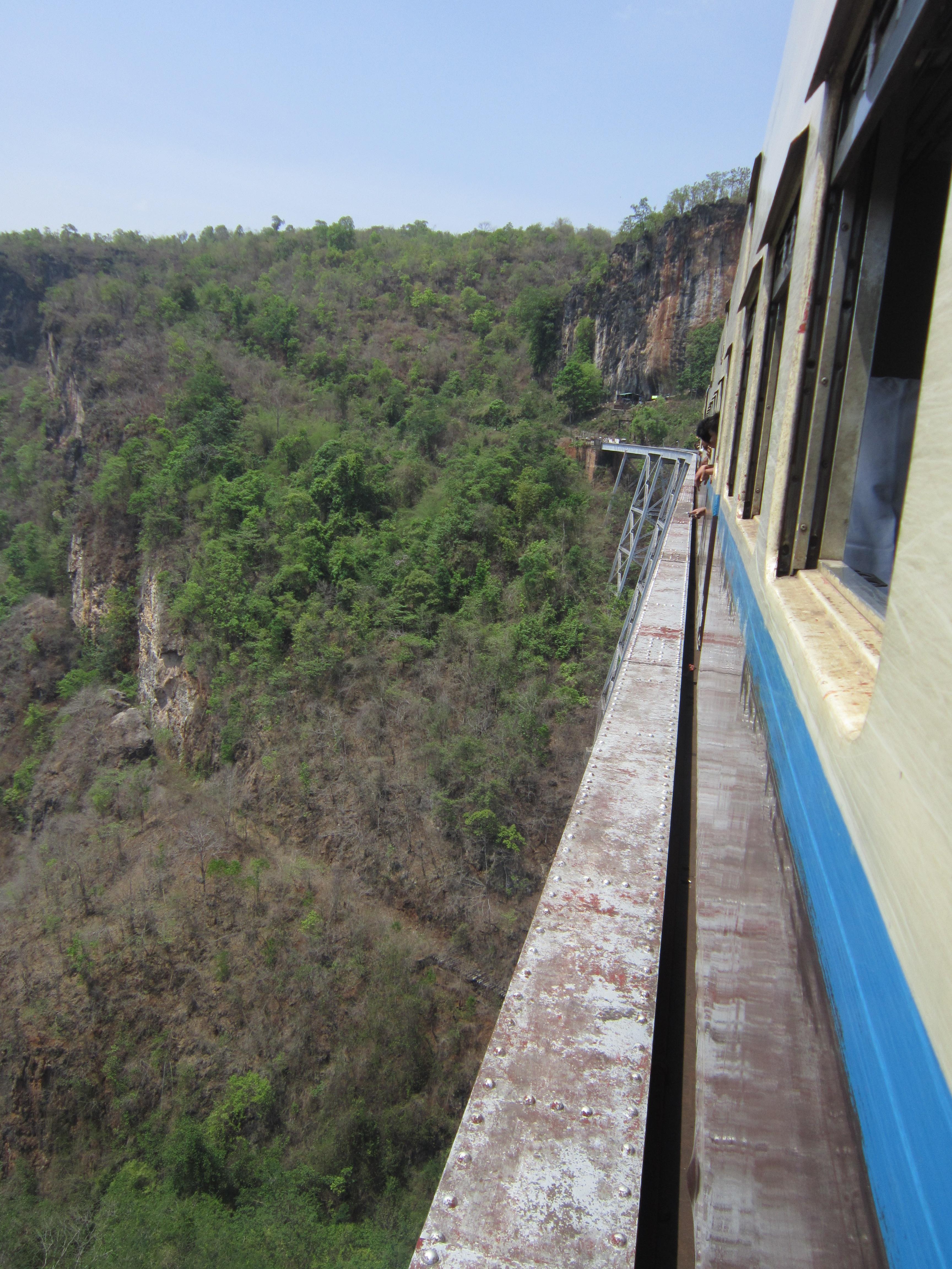 Crossing Gokteik Viaduct by train on route to Pyin Oo Lwin