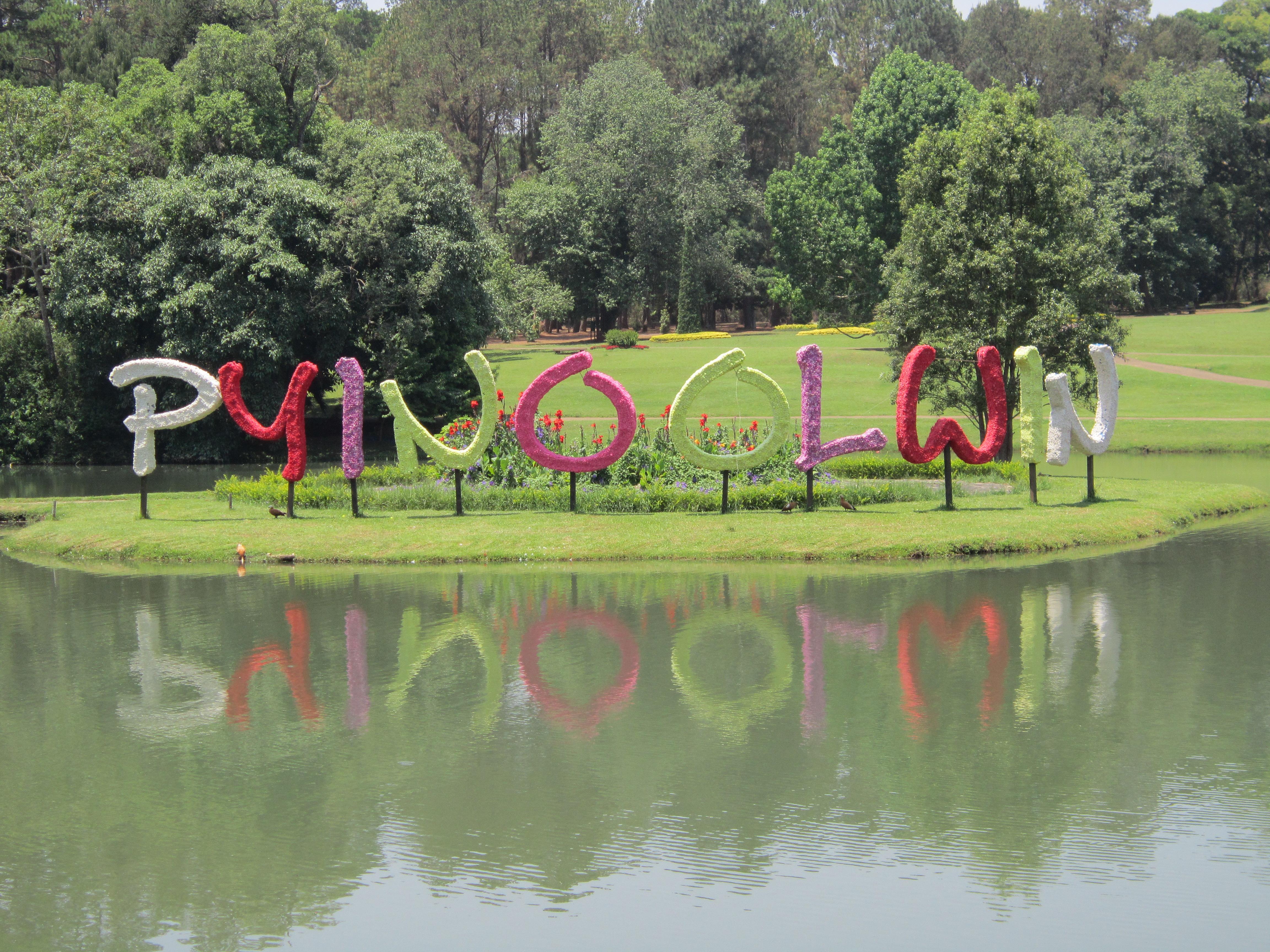 Pyin Oo Lwin spelt by floral decorations, Kandawgyi Botanical Gardens , Myanmar
