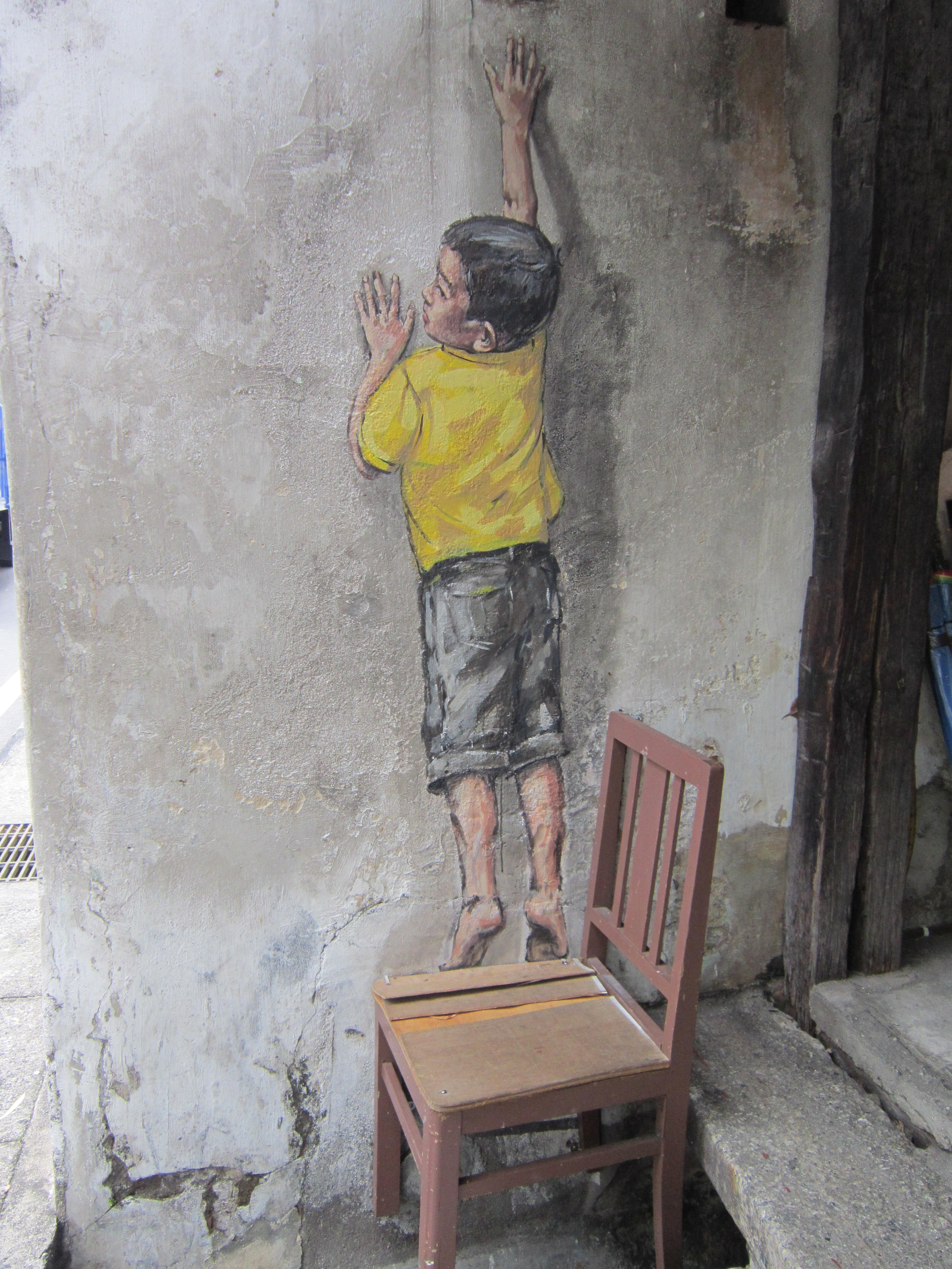 Penang Street Art Reaching up