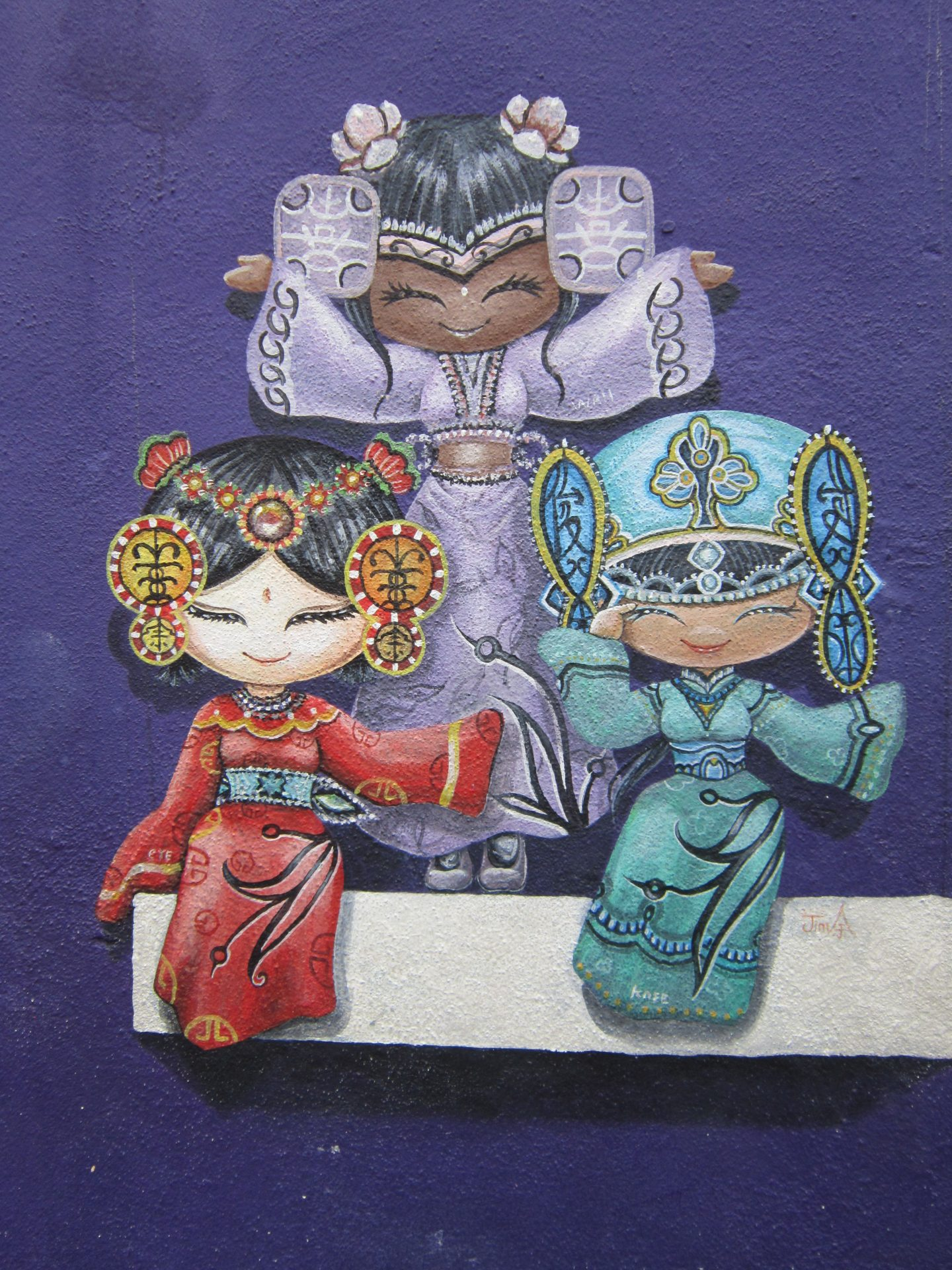 Penang Street Art Cultural Girls