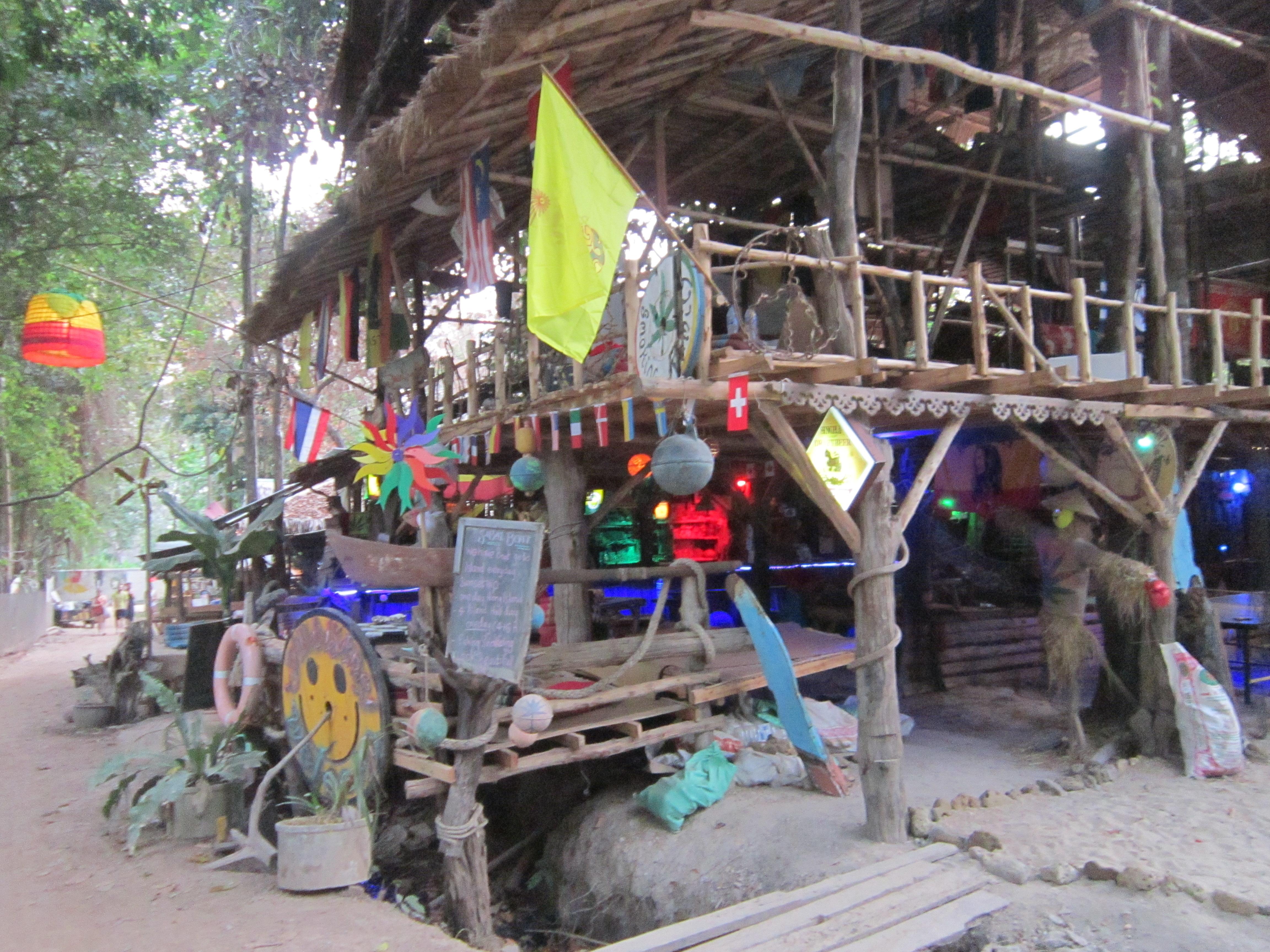 A bar in Tonsai, Thailand. A great solo travel spot.