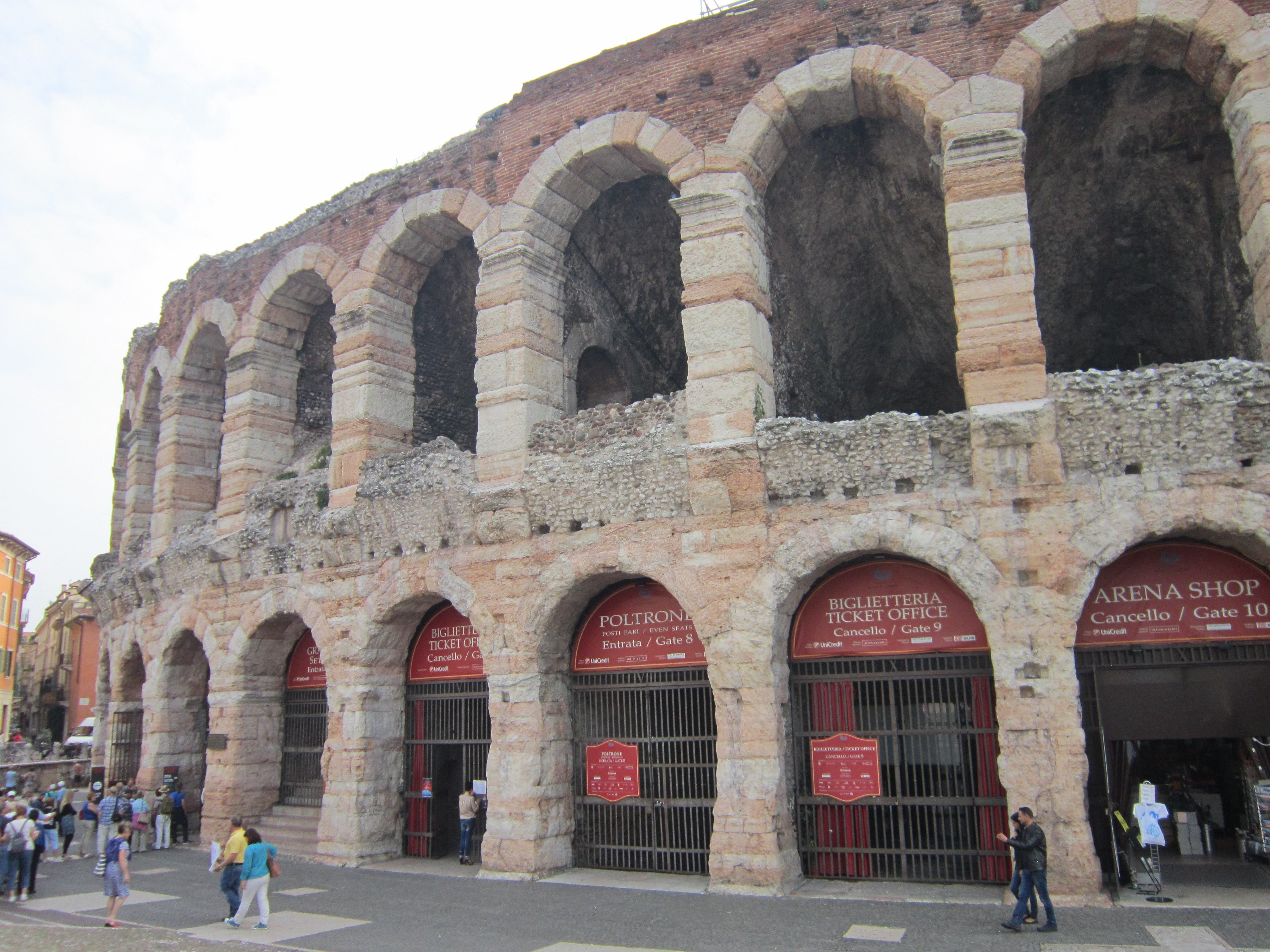 The outside of the Roman arena in Verona