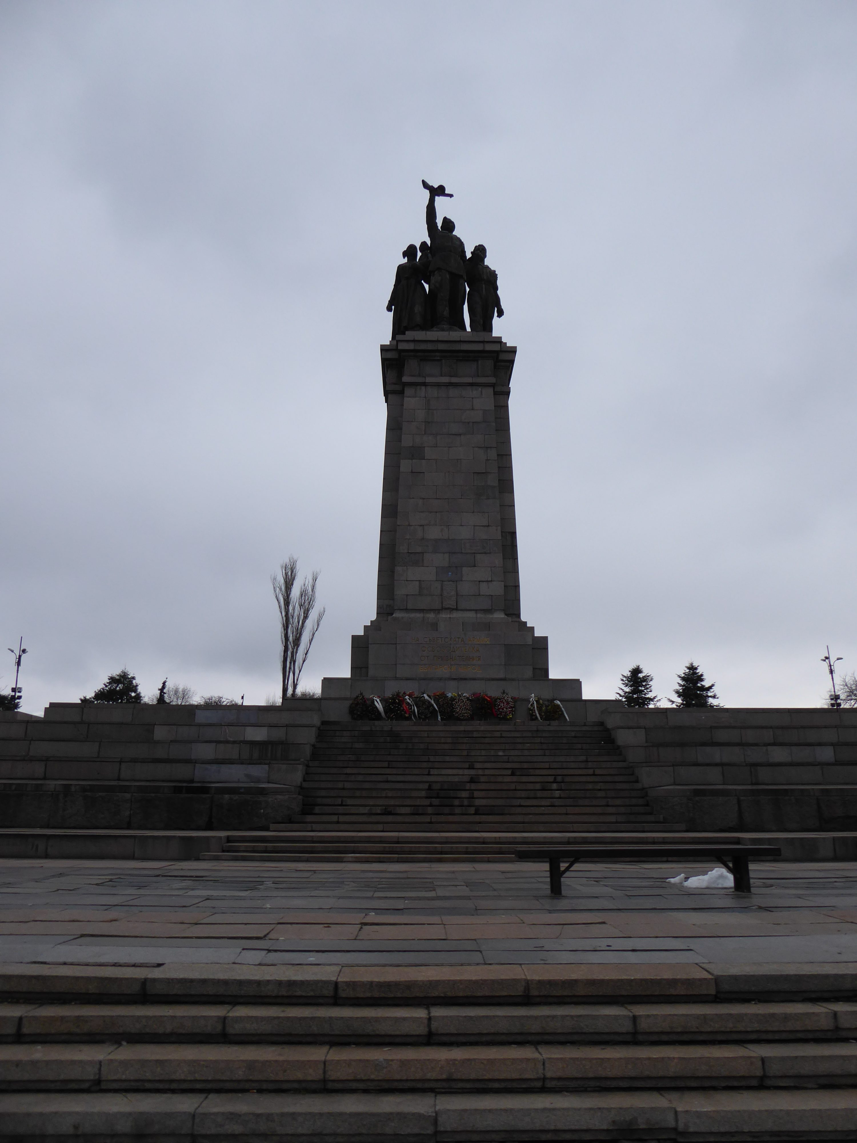 Part of the Monument to the Soviet Army in Sofia - tall pillar with statue on top
