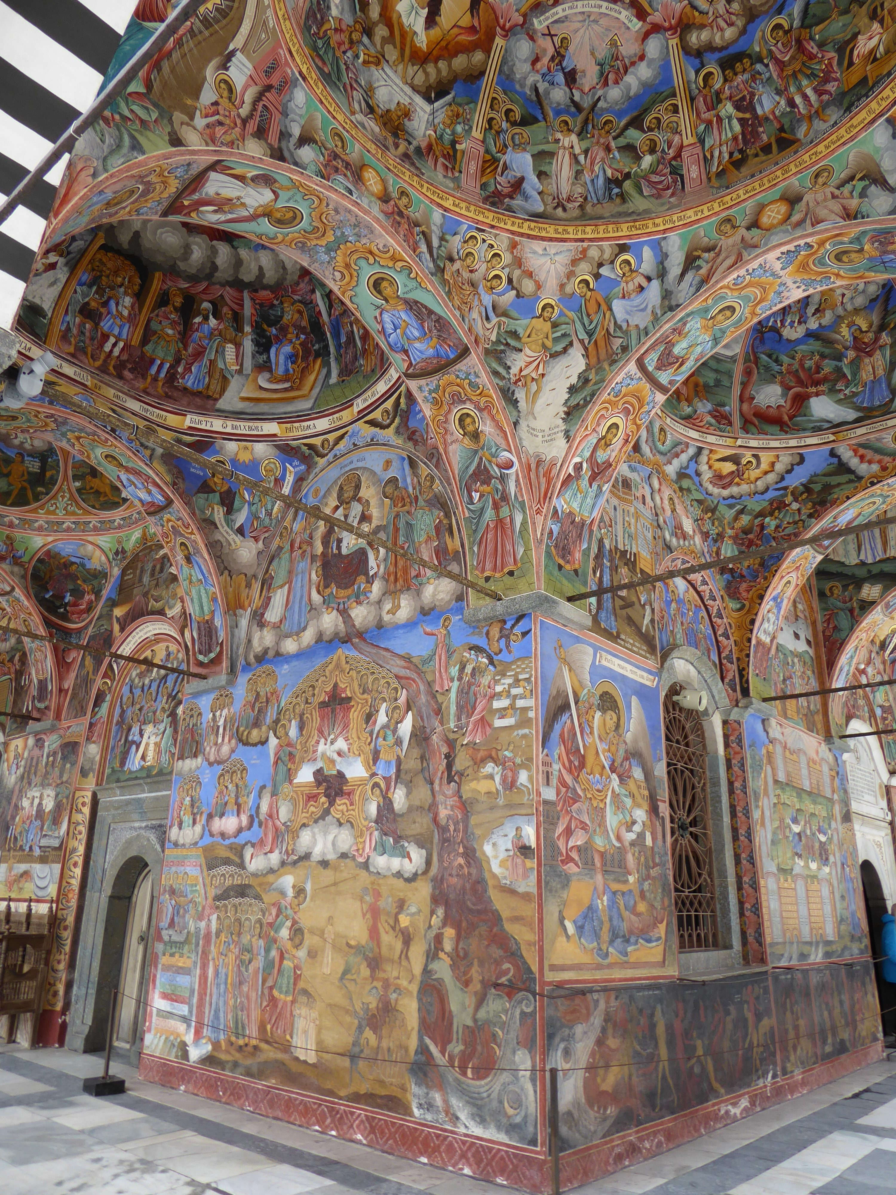 Eastern Orthodox art in Rila Monastery . hours form Sofia, Bulgaria