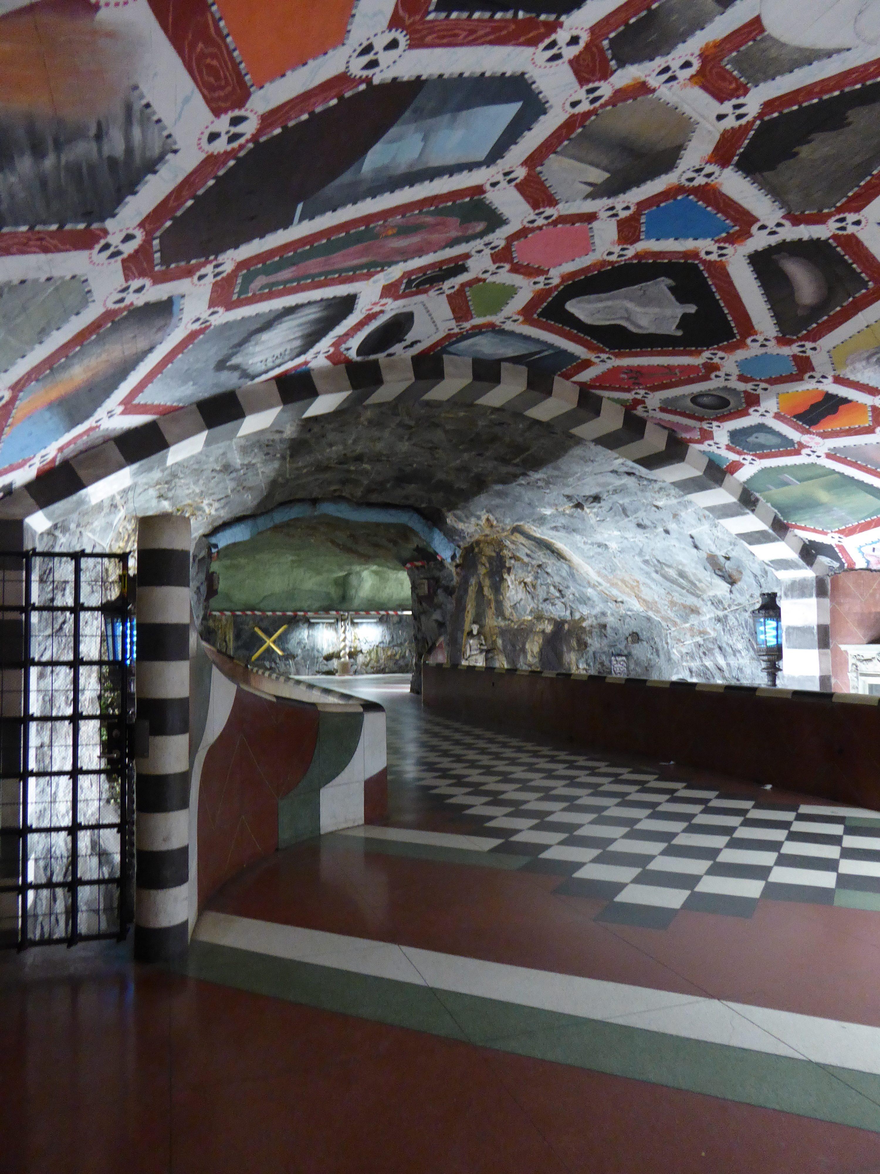 Kungsträdgården metro station in Stockholm. Art on ceiling, floor and walls.