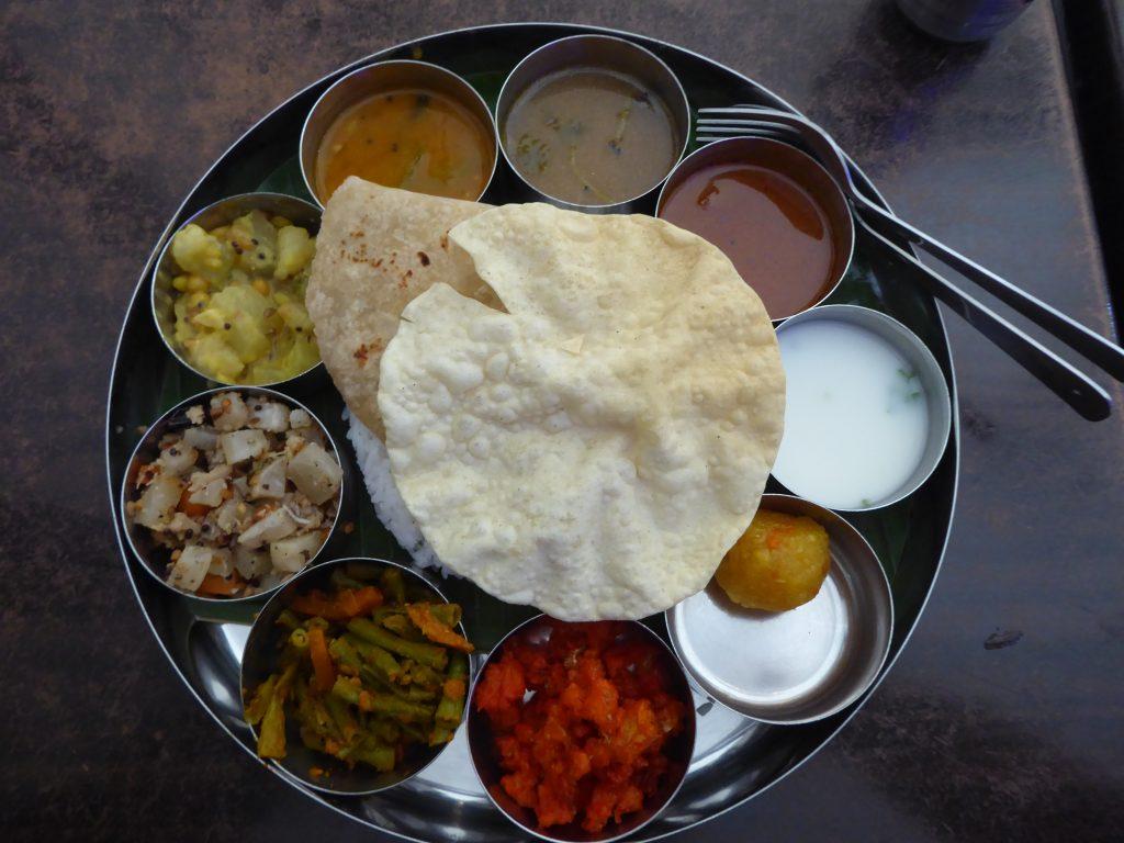 A 'Thali' style set meal. Vegetarian Penang Guide.