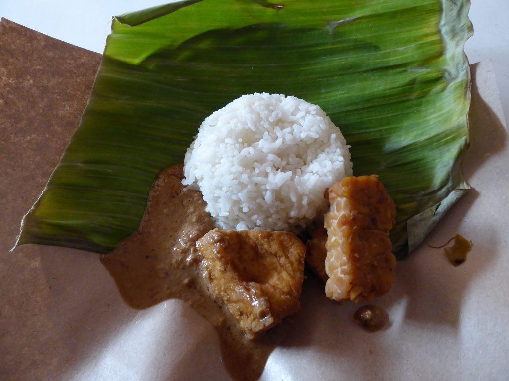 Tofu, Tempeh, Satay Sauce and Rice  on banana leave