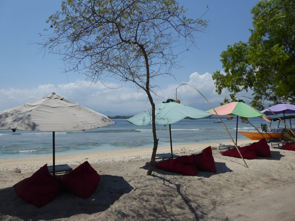 Cushions on the beach on Gili Air