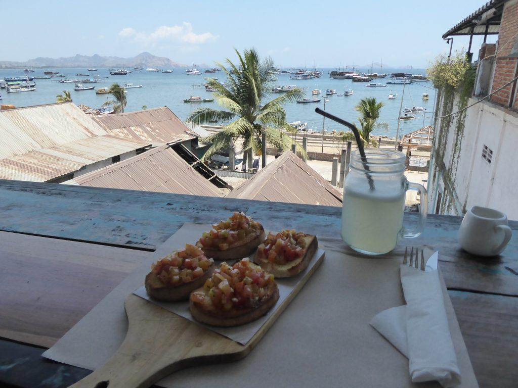 Bruschetta and the view at La Cucina restaurant in Labaun Bajo