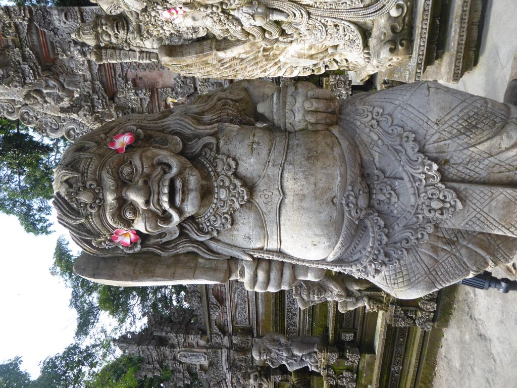 A Balinese Hindu statue in Ubud - a highlight of backpacking Bali
