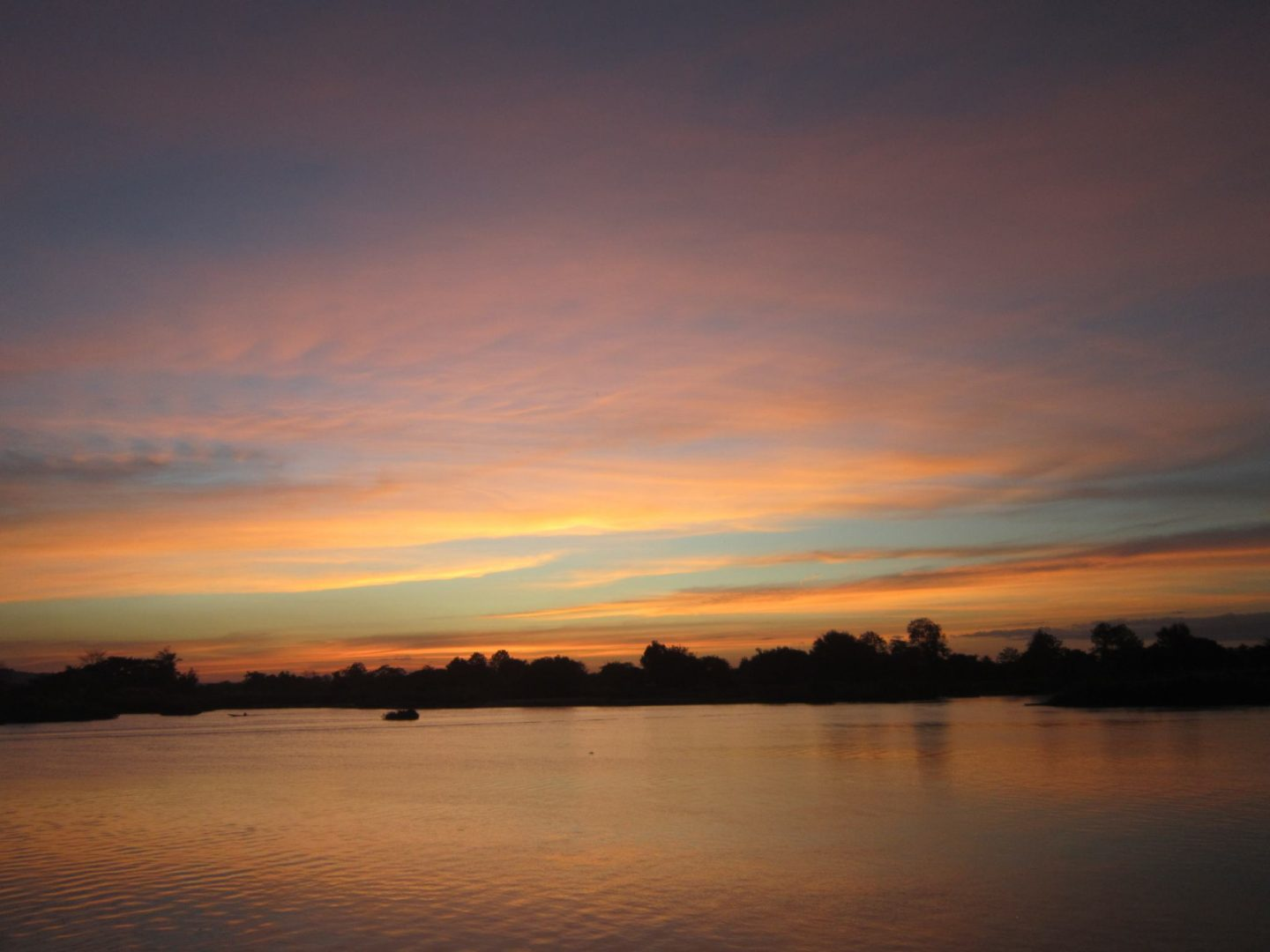 Sunset in the 4000 Islands - orange and blue sky over water