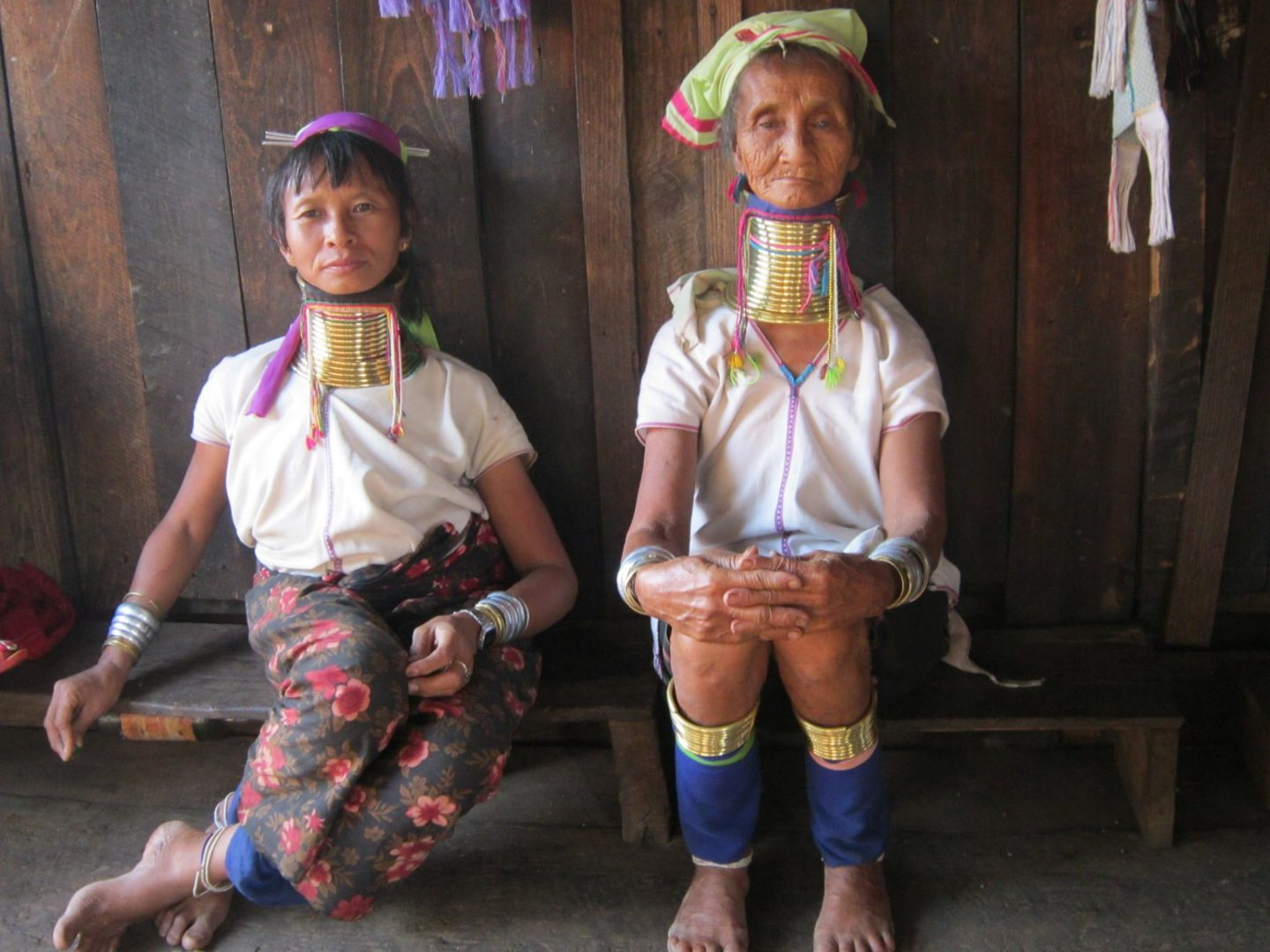 Women of the Kayan Lahwi tribe in their home village in Myanmar