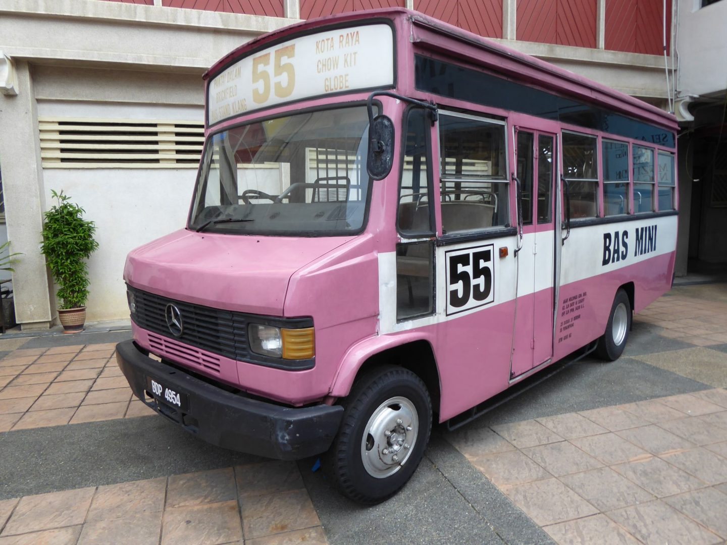 An old bus that served Kuala Lumpur on display outside the Malaysian National Museum