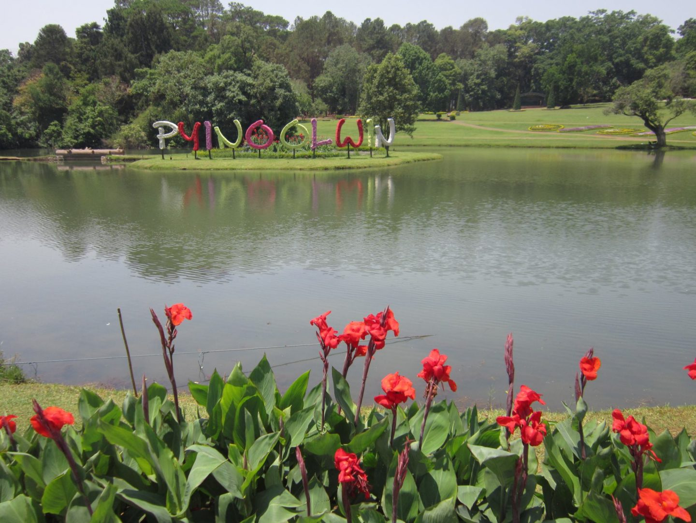 National Kandawgyi Botanical Gardens - Pyn Oo Lwin in flowery letters across the lake