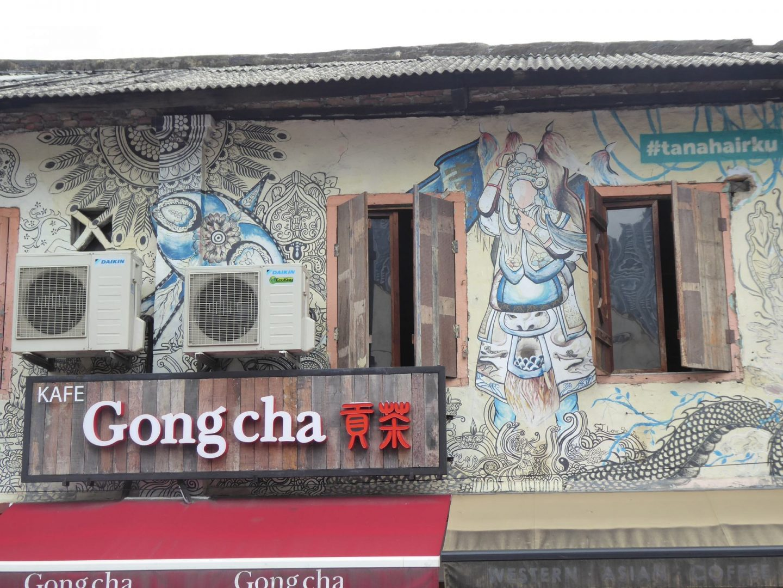 Cafe covered in art in Johor Bahru