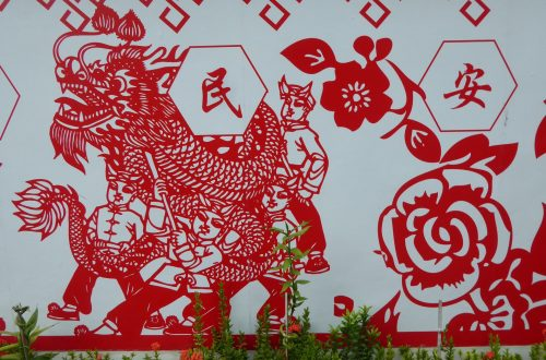 Artwork on the outside Of the Old Chinese Temple