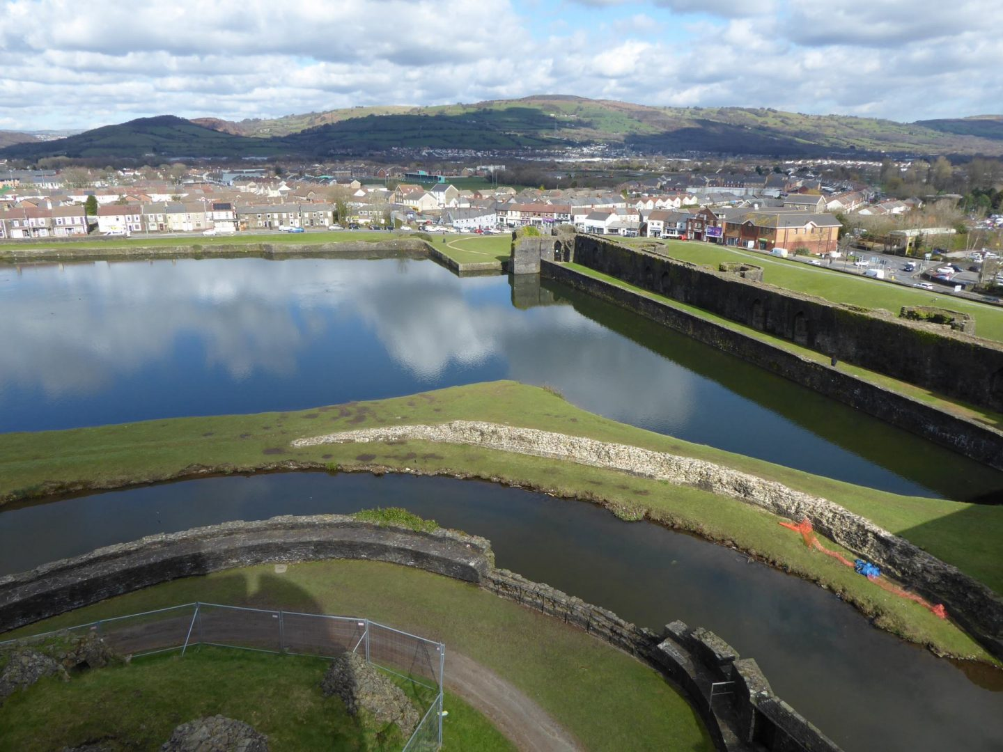 Looking towards the hills north of hills north of Caerphilly, over the castle's man made lake