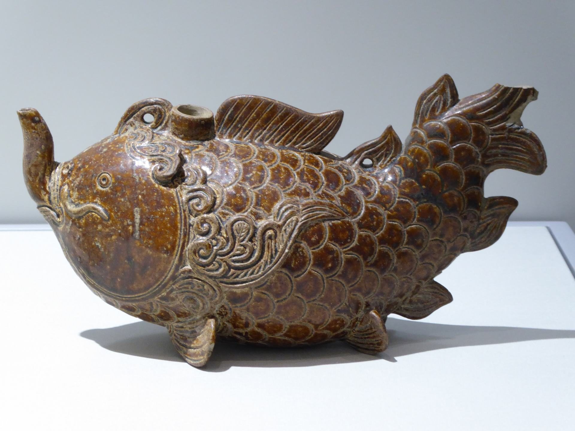 A Vietnamese Pitcher in the form of a fish, displayed at The Asian Civilisations Museum in Singapore. One of the best Museums In Southeast Asia