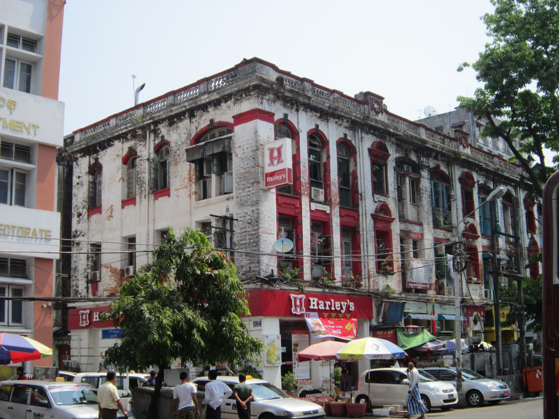 Colonial style buildings on the Yangon city streets