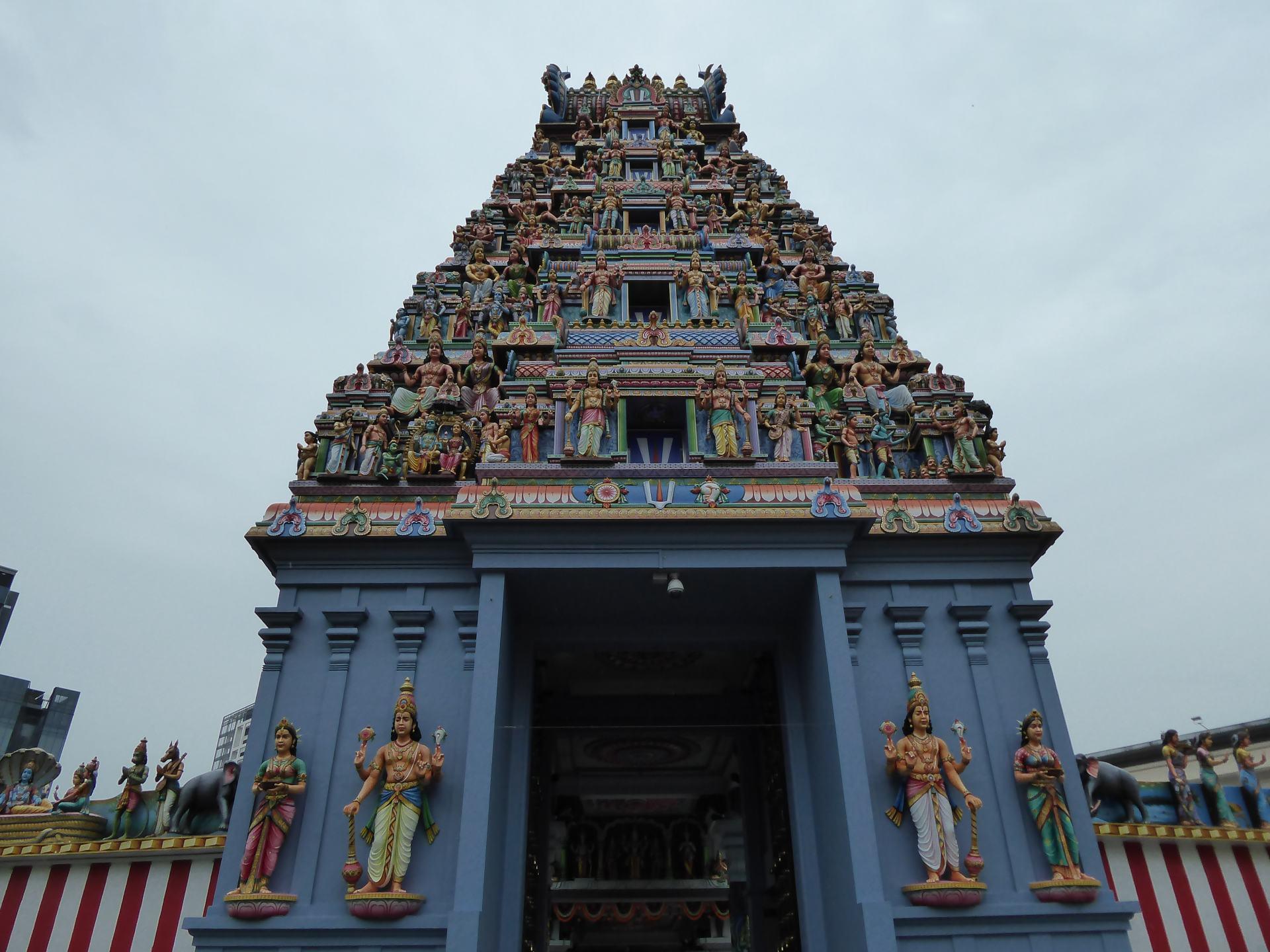 The Gopuram at the Sri Srinivasa Perumal Temple in Singapore. A Hindu Southeast Asian temple.